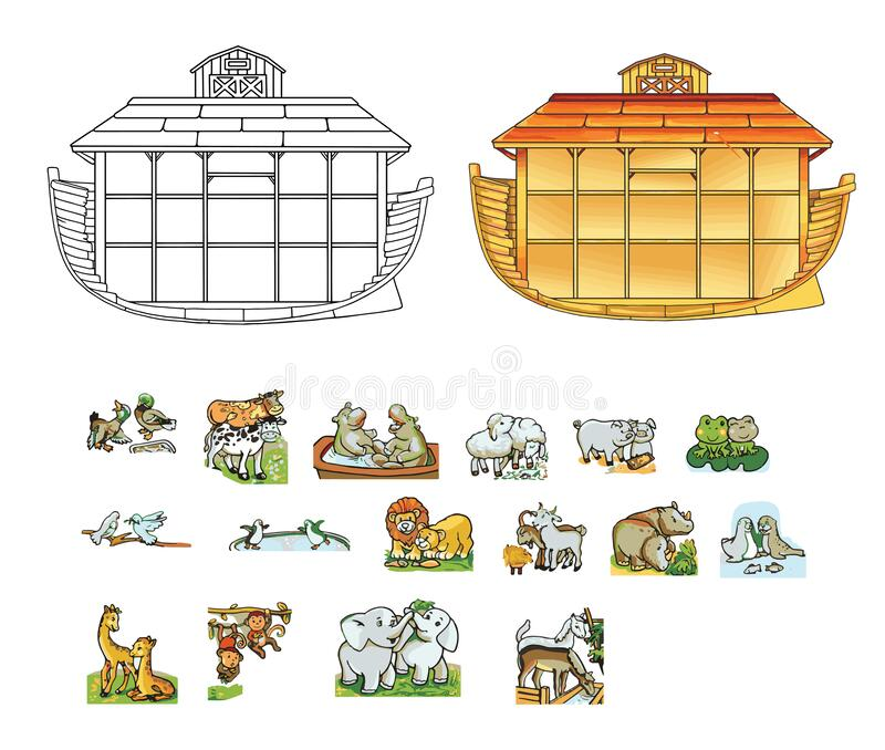 Ark of Noah. Contour illustration and color. Pairs of animals. Vector illustration royalty free stock images
