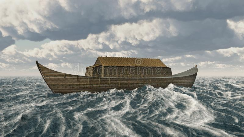 The Ark of Noah in the stormy sea. Computer generated 3D illustration with the Ark of Noah in the stormy sea stock illustration