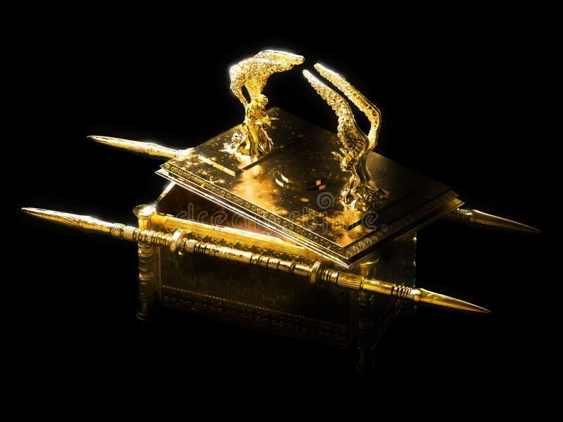 Arka umowa z deklem otwartym na ciemnej tło/3D ilustracji ilustracja wektor