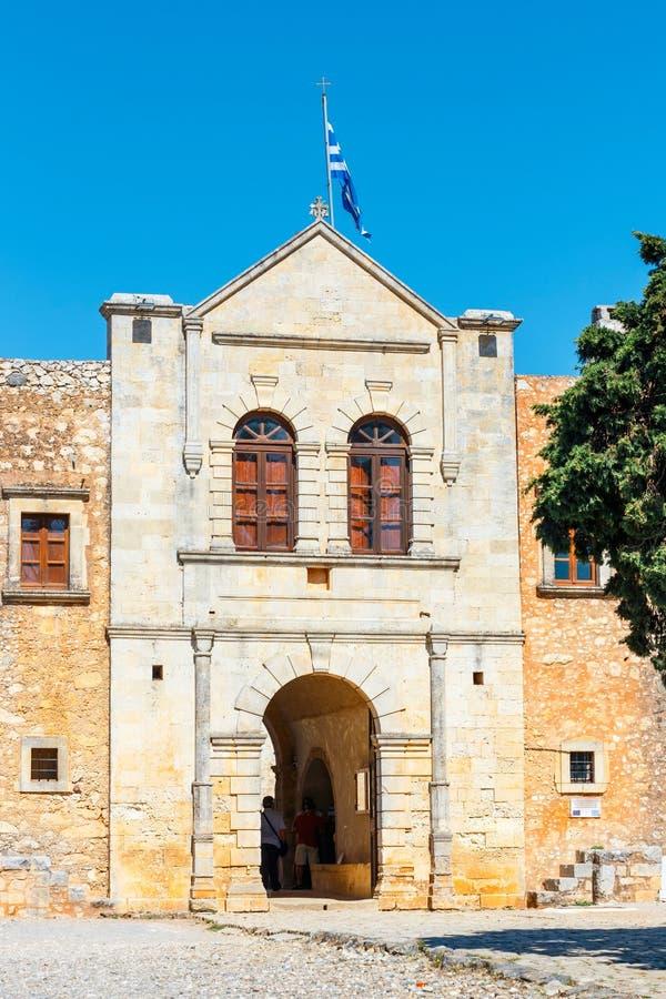 Arkadi修道院位于在Rethymnon,克利特,希腊东南部  库存图片