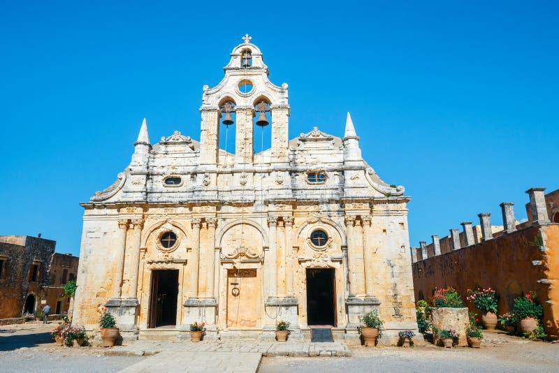 Arkadi修道院大教堂克利特的,希腊 免版税图库摄影