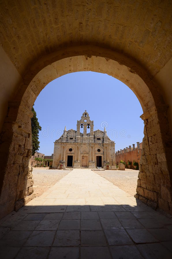 Arkadi monastery and country yard, Crete. Arkadi monastery on Crete island, Greece. Ekklisia Timios Stavros - Moni Arkadiou in Greek. It is a Venetian baroque royalty free stock photo