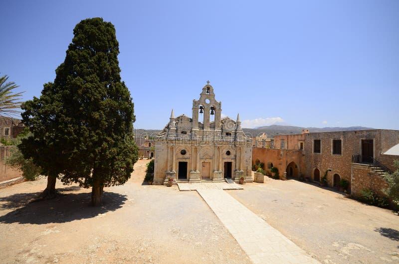 Arkadi monastery and country yard, Crete. Arkadi monastery on Crete island, Greece. Ekklisia Timios Stavros - Moni Arkadiou in Greek. It is a Venetian baroque stock photos