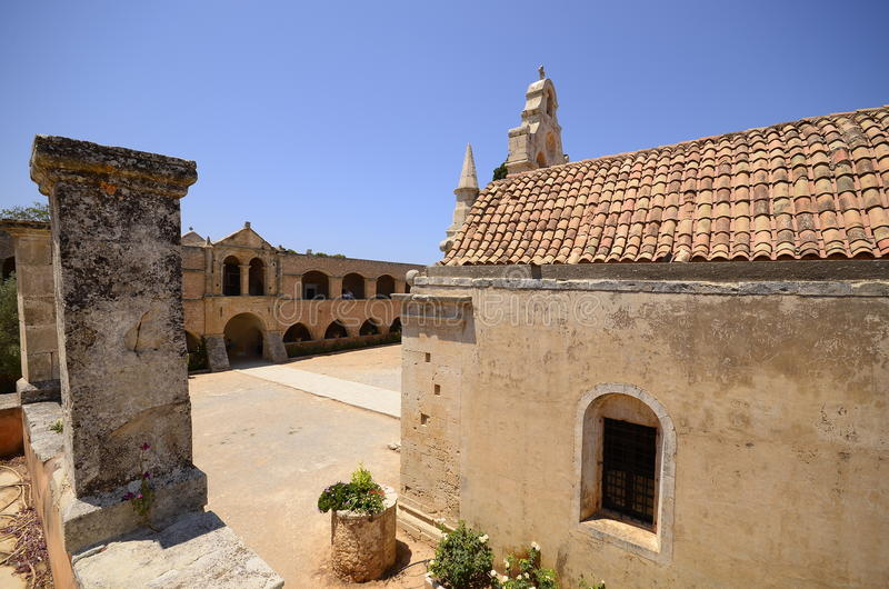 Arkadi monastery and country yard, Crete stock images