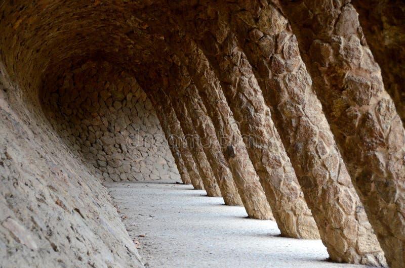 arkadowy Antonio Gaudi Parc Guell fotografia stock