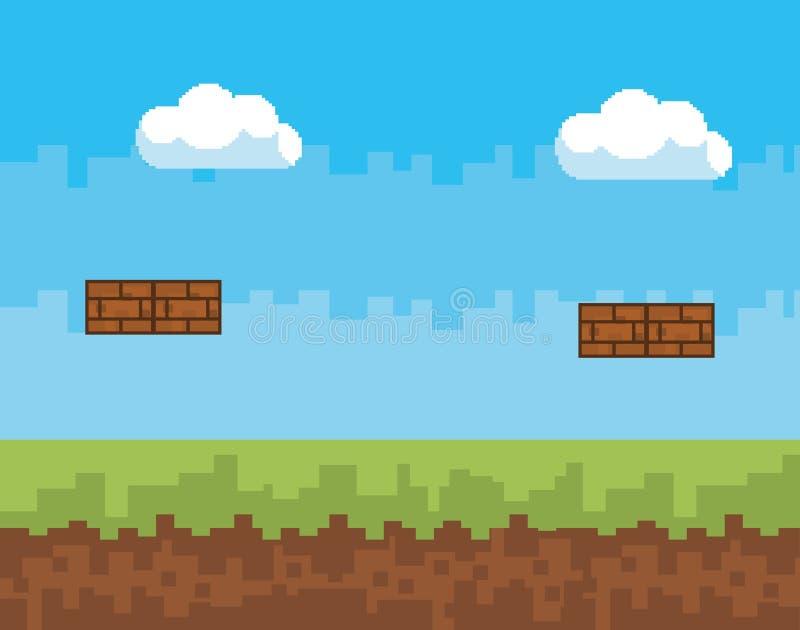Arkady gry piksla i światu scena projektuje wektorową ilustrację ilustracja wektor