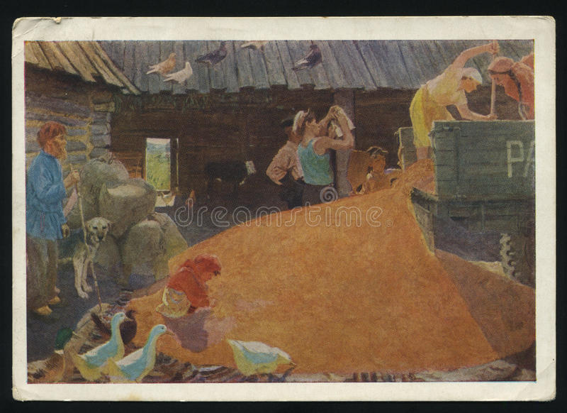 Arkady Plastov. RUSSIA KALININGRAD, 18 MAY 2017: postcard printed by Russia shows Painting August by Arkady Plastov, circa 1958 stock images