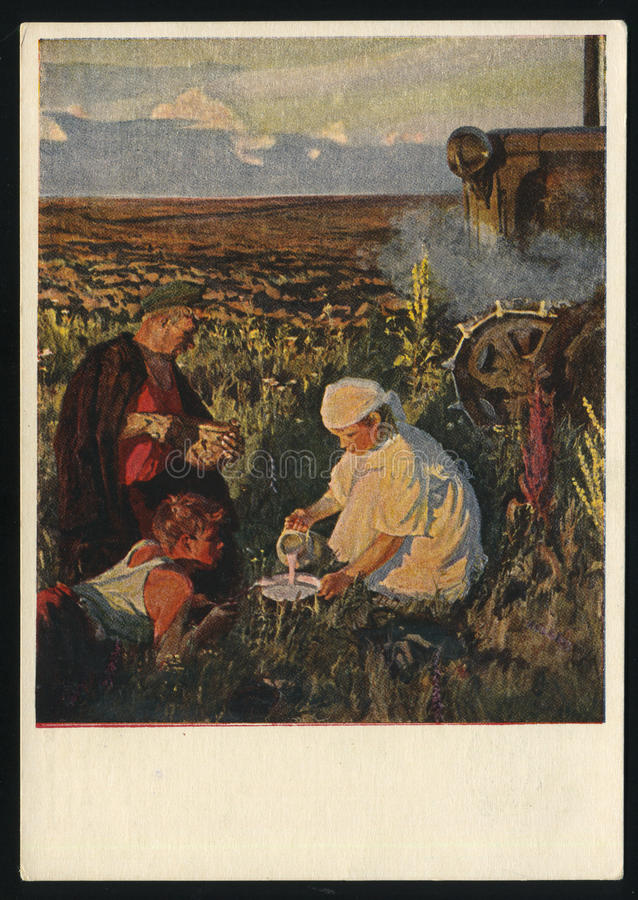 Arkady Plastov. RUSSIA KALININGRAD, 18 MAY 2017: postcard printed by Russia shows Painting Tractor Drivers Supper by Arkady Plastov, circa 1953 stock images