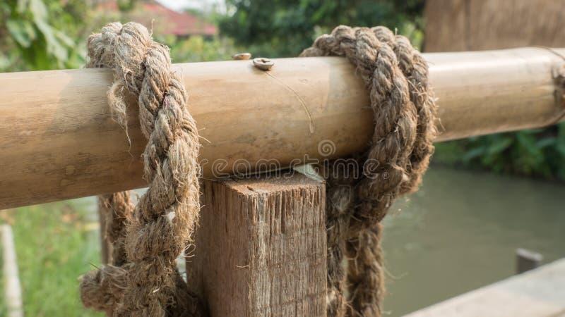 Arkana i bambus na drewnianym moście fotografia stock