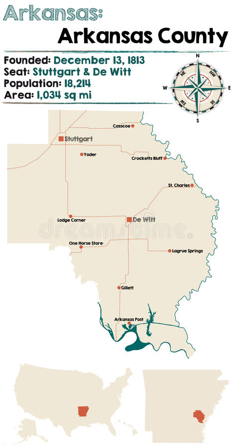 Arkansas Arkansas county stock vector Illustration of rivers