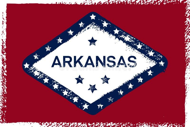 Arkansas Grunge flaga Ameryka?ski stan Tekstura, tło, plakat ilustracji