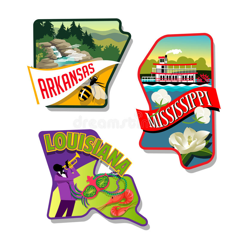 Arkansas Mississippi Luisiana ilustró diseños de la etiqueta engomada libre illustration
