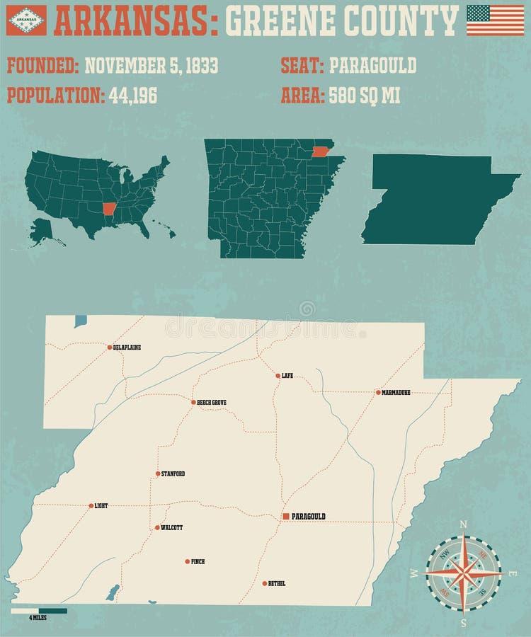 Arkansas: O Condado de Greene ilustração do vetor