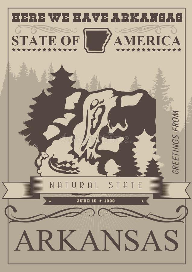 Arkansas podróży amerykański sztandar Naturalny stan Rocznika konturu plakat royalty ilustracja