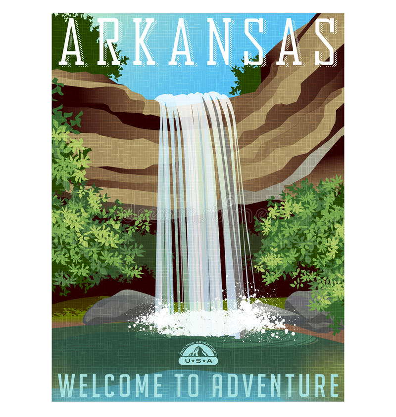 Arkansas-Reiseplakat oder -aufkleber vektor abbildung