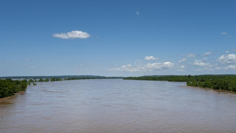 Arkansas River flooding seen from I-40 bridge near Webbers Fall. The Arkansas River overflowing its banks during spring flooding near Webbers Falls, Oklahoma stock photography