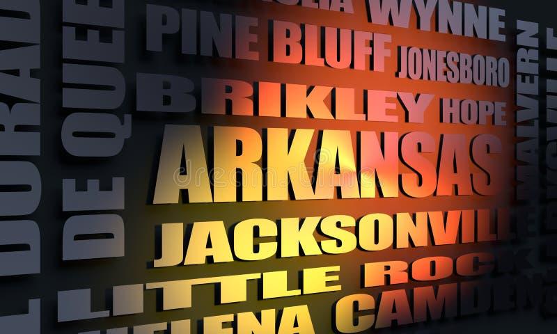 Arkansas stadslista royaltyfri illustrationer