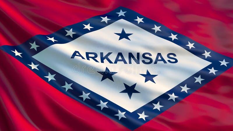 Arkansas state flag. Waving flag of Arkansas state, United States of America.  vector illustration