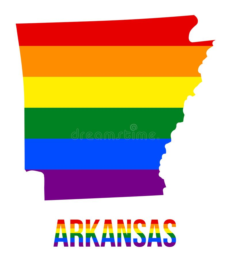 Arkansas State Map in LGBT Rainbow Flag Comprised Six Stripes With Arkansas LGBT Text. The Flag Comprised Six Stripes; Meaning to Each of The Colors: Life royalty free illustration