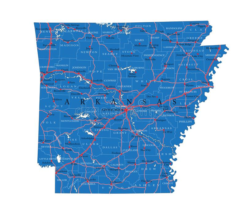 Arkansas state political map royalty free stock image