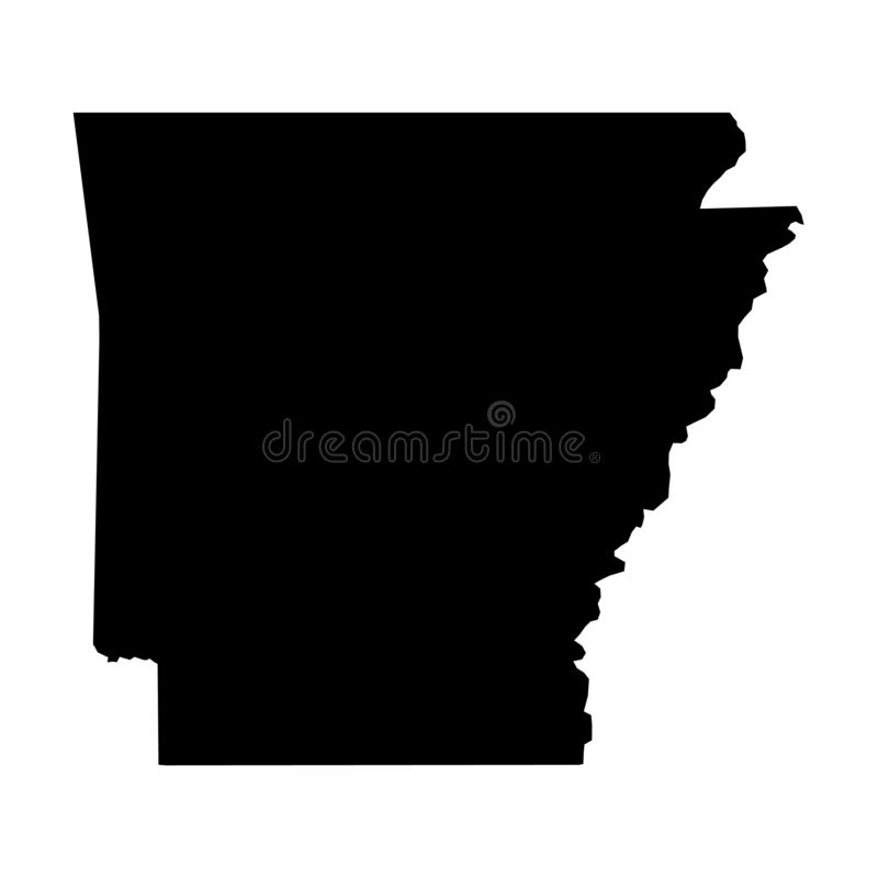 Arkansas, state of USA - solid black silhouette map of country area. Simple flat vector illustration.  vector illustration