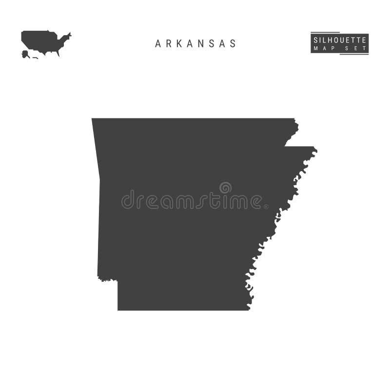 Arkansas USA påstår vektoröversikten som isoleras på vit bakgrund Hög-specificerad svart konturöversikt av Arkansas stock illustrationer