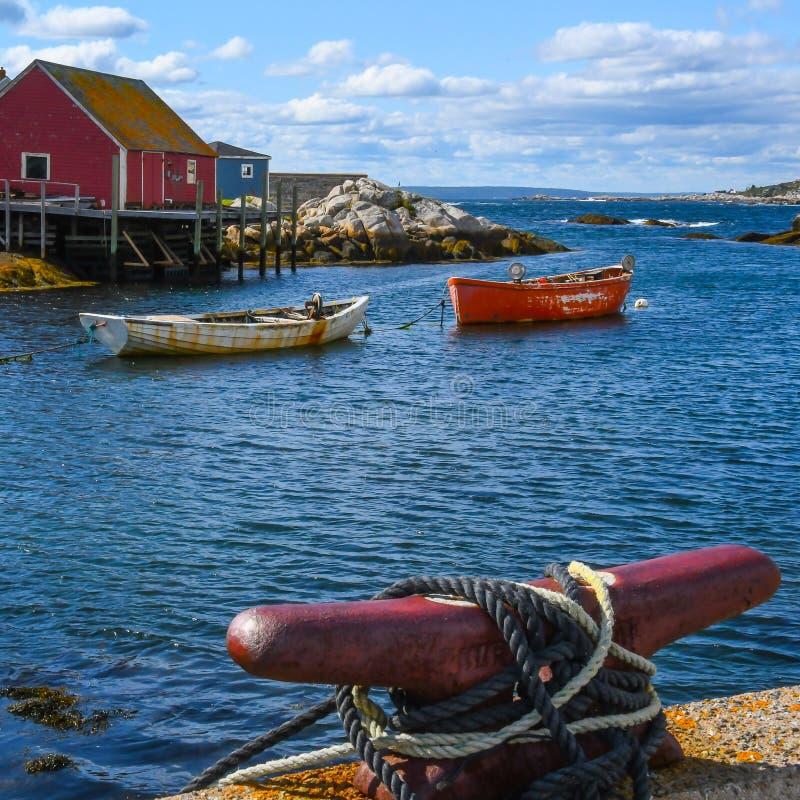 Arkany na Cleat z Pustymi łodziami obraz royalty free