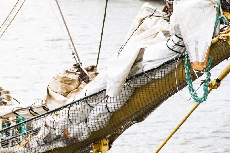 Arkany na tallship cleat w górę zdjęcie stock