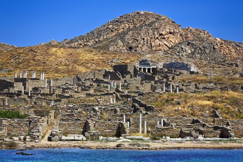 Arkeologisk plats av Delos arkivbilder