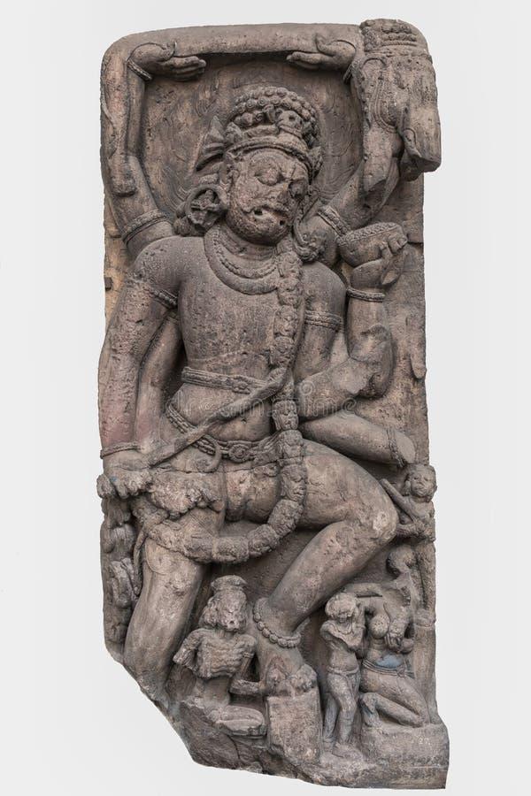 Arkeologisk skulptur av Rkshasha från indisk mytologi av det elfte århundradet arkivbilder