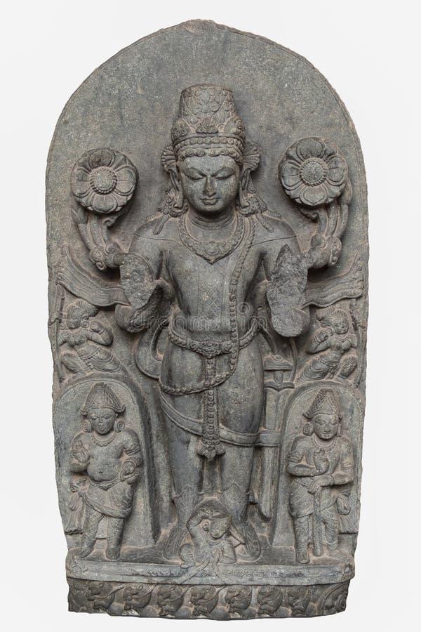 Arkeologisk skulptur av Surya från det tionde århundradet, basalt, Bihar arkivbild