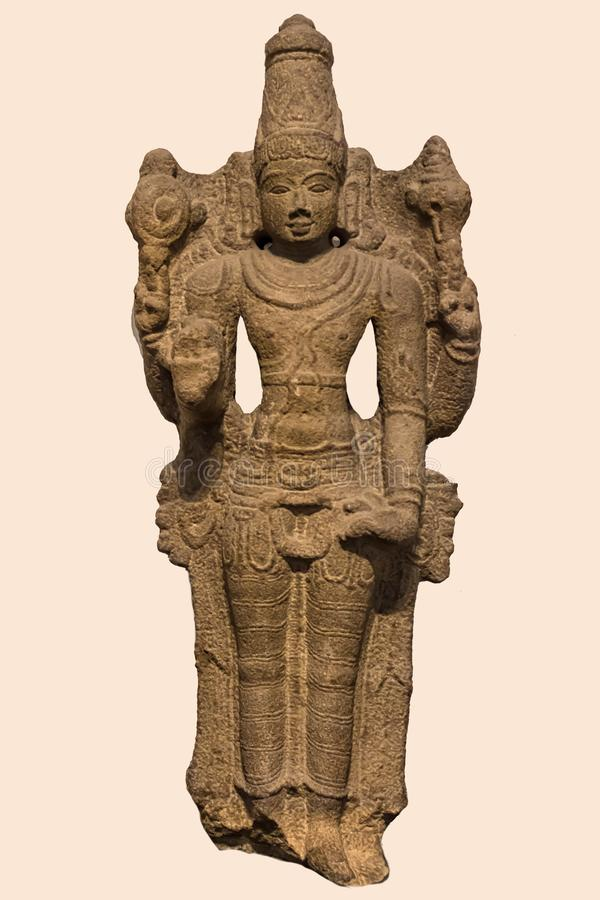 Arkeologisk skulptur av Vishnu från indisk mytologi royaltyfria bilder