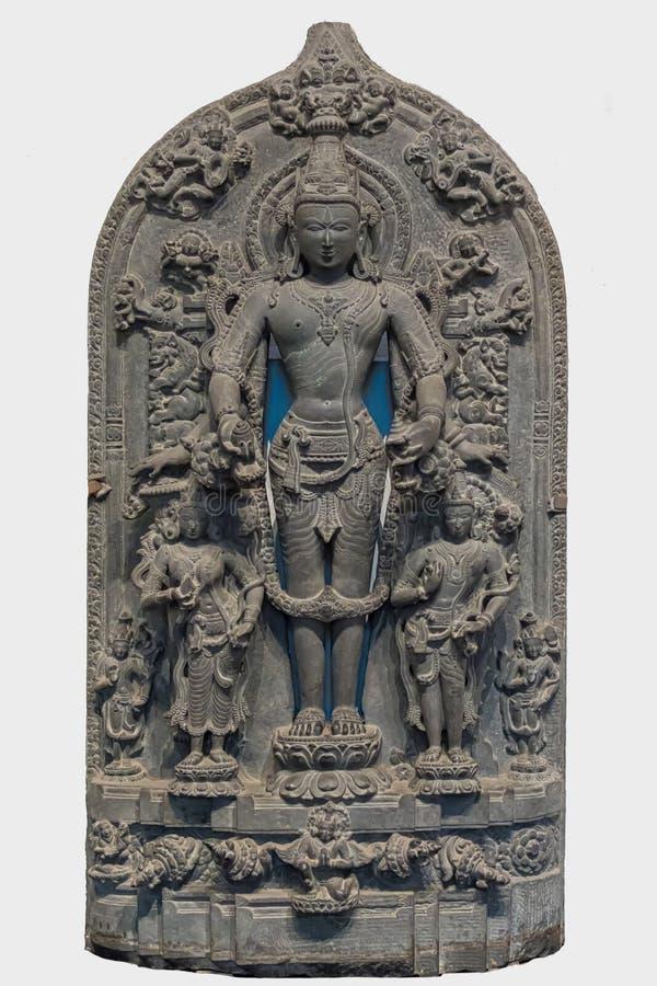 Arkeologisk skulptur av Vishnu från indisk mytologi arkivfoton