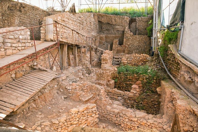 Arkeologisk utgrävning i Tavira, Portugal royaltyfri bild