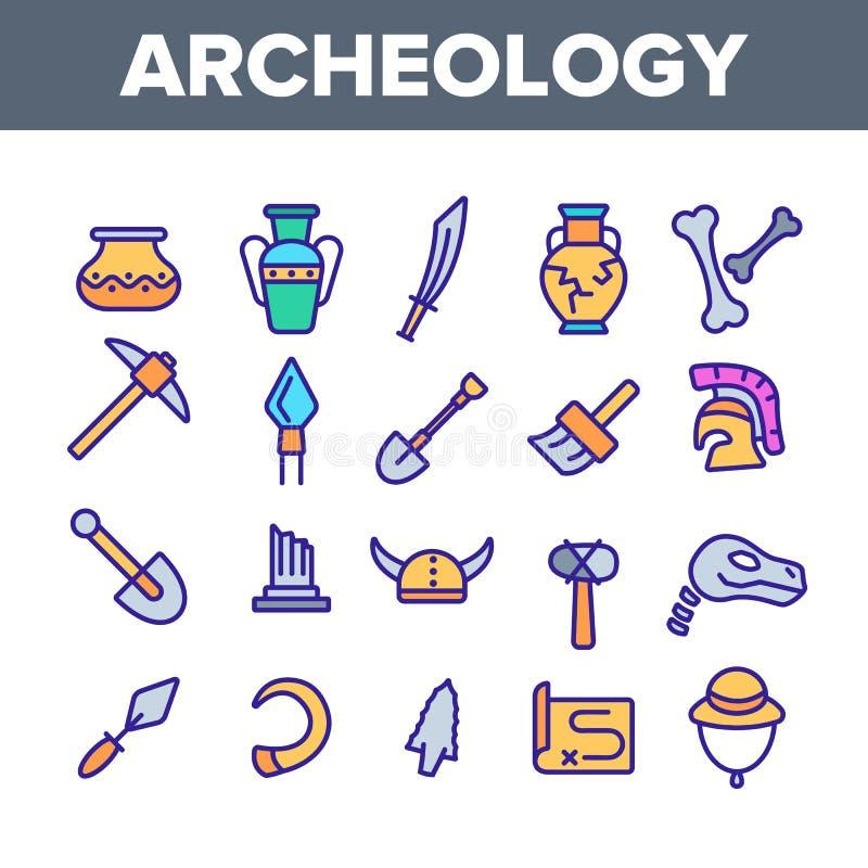 Arkeologiska hjälpmedel och uppsättning för symboler för utgrävningvektor linjär vektor illustrationer