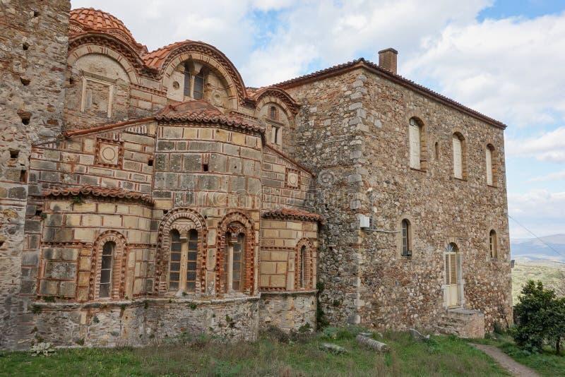 Arkeologiska museet i Mystras och Metropolis-byggnaden nära Sparta, Grekland arkivfoto