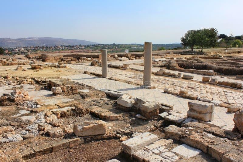 Arkeologiska utgrävningar, nationalpark Zippori, Galilee, Israel royaltyfri fotografi