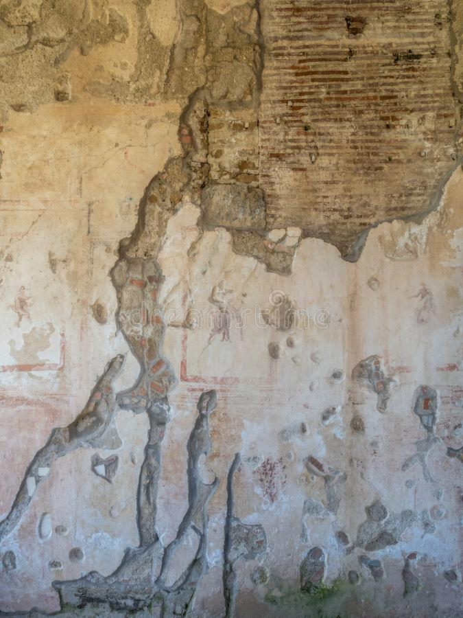 Arkeologiskt parkera av Baia, arkitektoniska detaljer royaltyfri bild