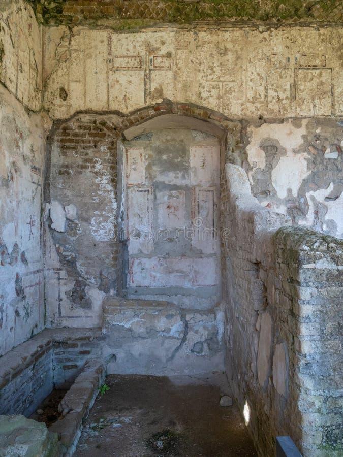 Arkeologiskt parkera av Baia, arkitektoniska detaljer arkivbild