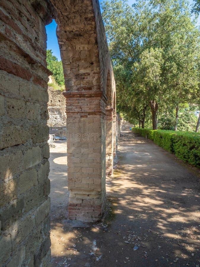 Arkeologiskt parkera av Baia, huvudsakliga arkitektoniska särdrag arkivbilder