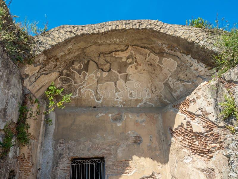 Arkeologiskt parkera av Baia, huvudsakliga arkitektoniska särdrag royaltyfri foto