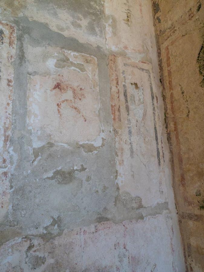Arkeologiskt parkera av Baia, romerska freskomålningar arkivbilder