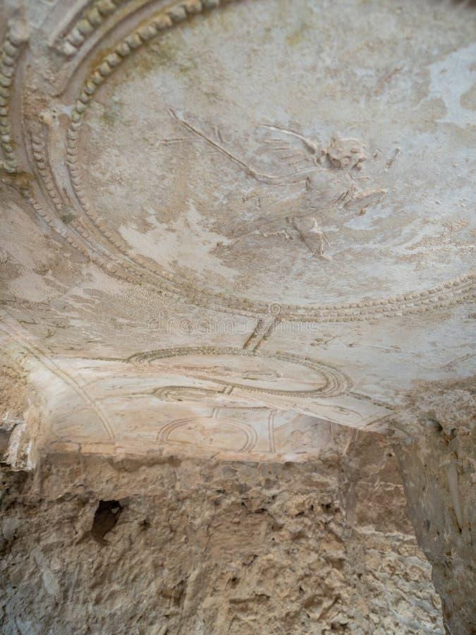 Arkeologiskt parkera av Baia, Terma di Sosandra royaltyfria bilder