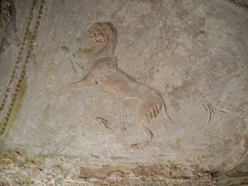 Arkeologiskt parkera av Baia, Terma di Sosandra fotografering för bildbyråer