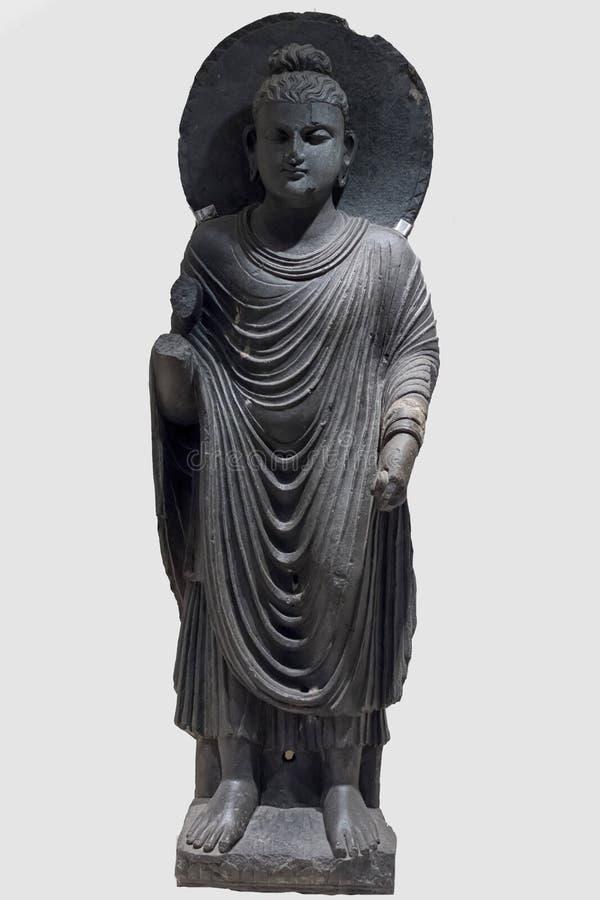Arkeologiskt skulpturanseende av Buddha i meditation från indisk mytologi arkivfoton