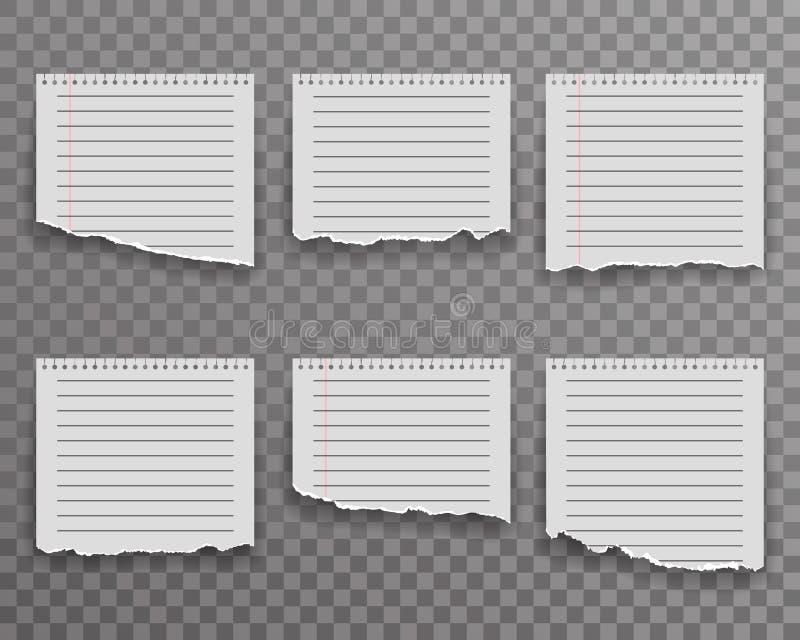 Arket för anmärkningar för den pappers- kanten för anteckningsboken rev sönder det sönderrivna för bakgrundsvektorn för realistis stock illustrationer
