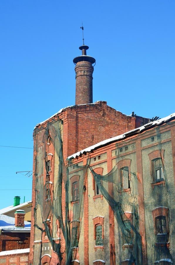Arkhangelsk, Rusia, febrero, 20, 2018 Monumento del planeamiento urbano y de la arquitectura - el edificio principal de la cervec foto de archivo libre de regalías