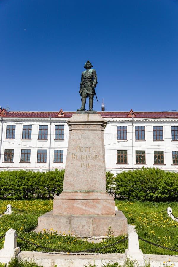 Arkhangelsk, Rusia Monumento a Peter I el grande fotos de archivo libres de regalías