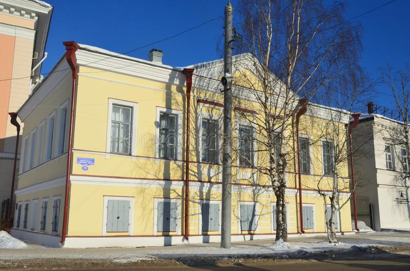 Arkhangelsk, Russia, February, 20, 2018. The building of customs and Bank office 1876, now-The state Museum Association ` Art cu royalty free stock photography