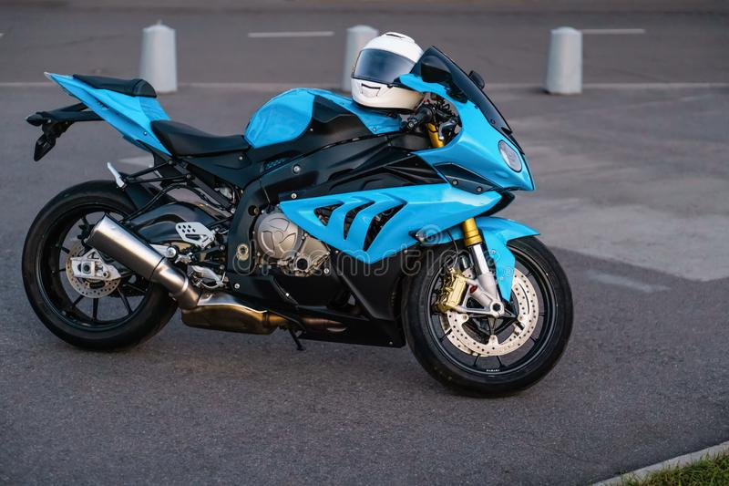 ARKHANGELSK, RUSSIAN FEDERATION - SEPTEMBER 4: BMW S 1000 RR sportbike on sunset, September 4, 2016 at Arkhangelsk. Russian Federation royalty free stock photos